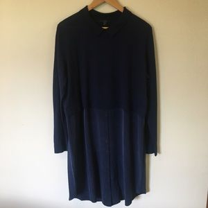 COS Blue Button-Up Collared Dress Size EUR L